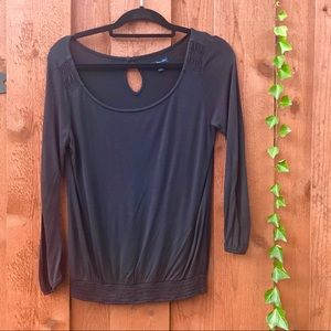 {AEO} BLK Long-Sleeve Shirt w/ Detail at Shoulder
